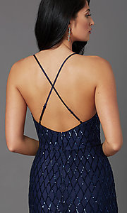 Image of long sequin navy formal prom dress by PromGirl. Style: MCR-PL-2860 Detail Image 1