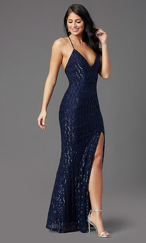 Image of long sequin navy formal prom dress by PromGirl. Style: MCR-PL-2860 Front Image