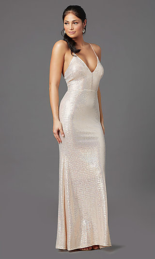 Long Metallic Sequin Tight Prom Dress by PromGirl