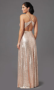 Image of long rose gold sequin prom dress by PromGirl Style: MCR-PL-2926 Back Image
