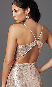 Image of long rose gold sequin prom dress by PromGirl Style: MCR-PL-2926 Detail Image 1