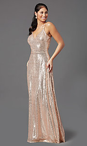 Image of long rose gold sequin prom dress by PromGirl Style: MCR-PL-2926 Detail Image 2