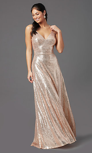 Long Rose Gold Sequin Prom Dress by PromGirl
