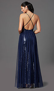 Image of PromGirl sequin prom dress with tulle overlay. Style: MCR-PL-2904 Detail Image 4