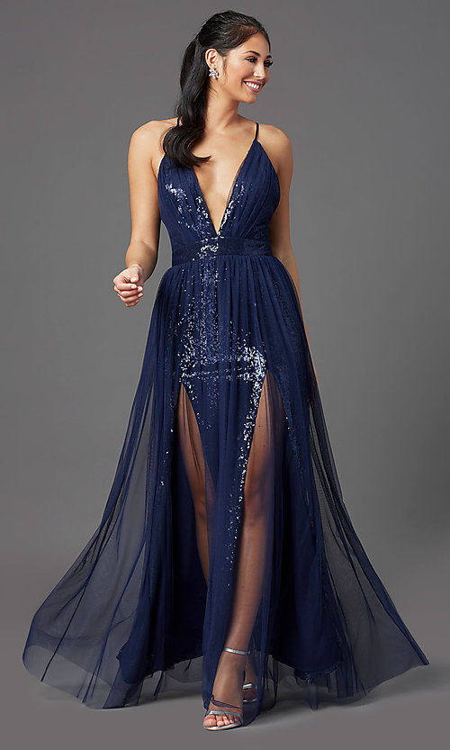 Image of PromGirl sequin prom dress with tulle overlay. Style: MCR-PL-2904 Detail Image 2