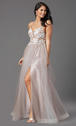 Backless Formal Long Tulle Prom Dress by PromGirl