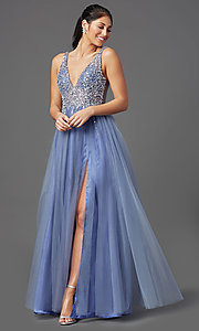 Image of long peri blue tulle prom dress with beaded bodice. Style: NA-G388 Front Image