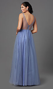 Image of long peri blue tulle prom dress with beaded bodice. Style: NA-G388 Back Image