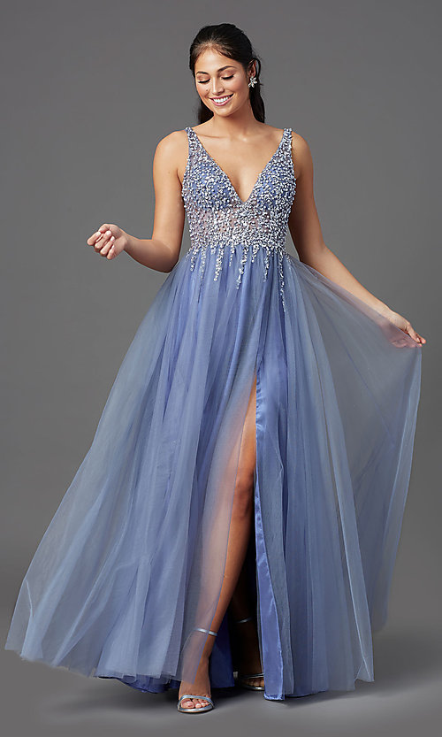 Image of long peri blue tulle prom dress with beaded bodice. Style: NA-G388 Detail Image 1