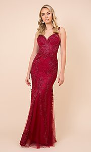 Image of embroidered long rose pink prom dress by PromGirl. Style: NA-PL-A398 Detail Image 3