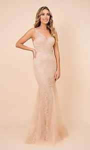Image of embroidered long rose pink prom dress by PromGirl. Style: NA-PL-A398 Detail Image 4