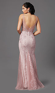 Image of embroidered long rose pink prom dress by PromGirl. Style: NA-PL-A398 Back Image
