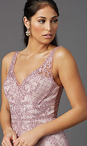 Image of embroidered long rose pink prom dress by PromGirl. Style: NA-PL-A398 Detail Image 1