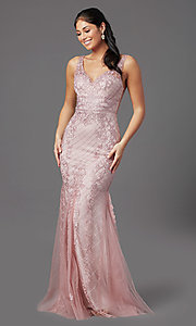Image of embroidered long rose pink prom dress by PromGirl. Style: NA-PL-A398 Front Image