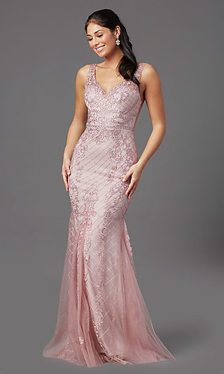 Embroidered Long Rose Pink Prom Dress by PromGirl