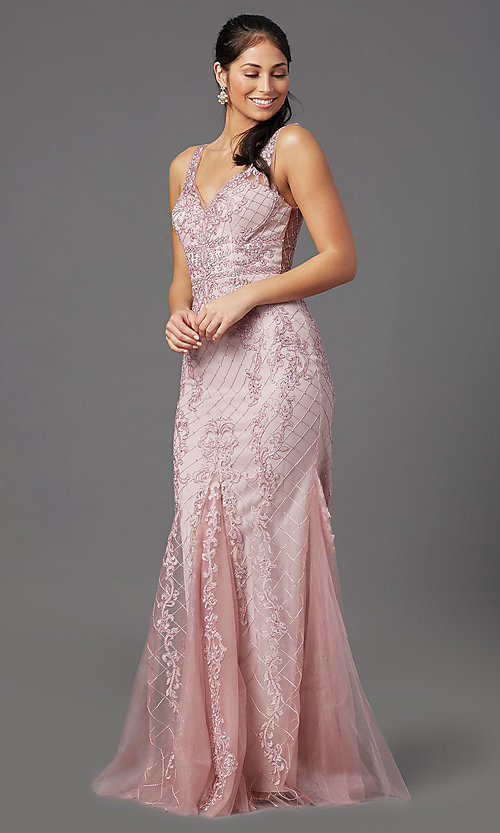 Image of embroidered long rose pink prom dress by PromGirl. Style: NA-PL-A398 Detail Image 2