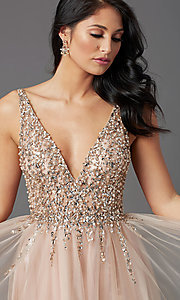 Image of beaded-bodice long tan prom dress by PromGirl. Style: NA-PL-G388 Detail Image 1