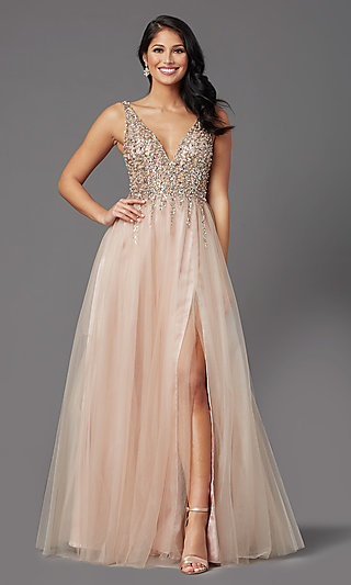 Beaded-Bodice Long Tan Prom Dress by PromGirl