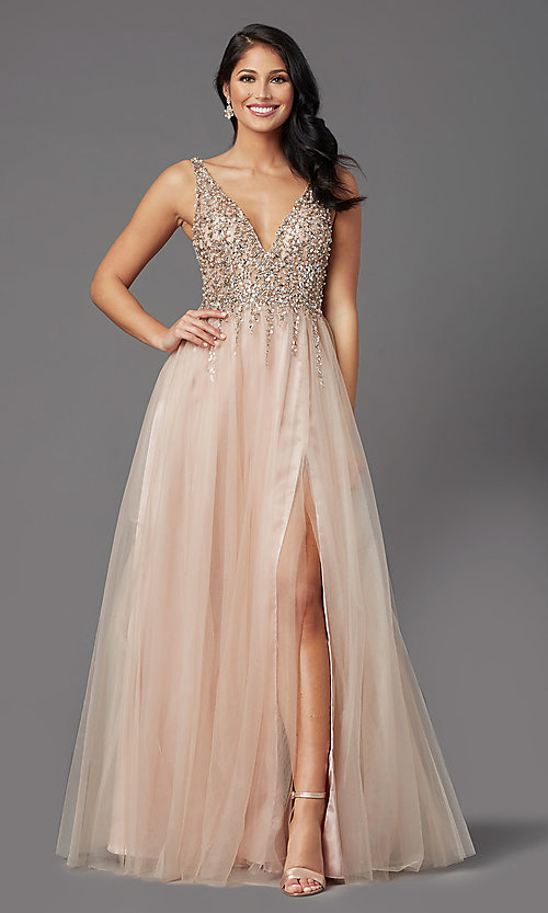 Image of beaded-bodice long tan prom dress by PromGirl. Style: NA-PL-G388 Front Image