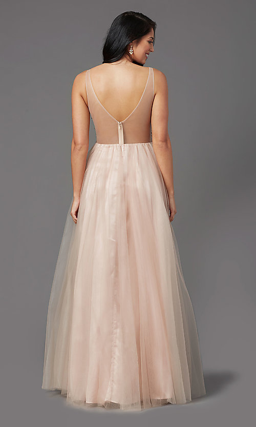 Image of beaded-bodice long tan prom dress by PromGirl. Style: NA-PL-G388 Back Image