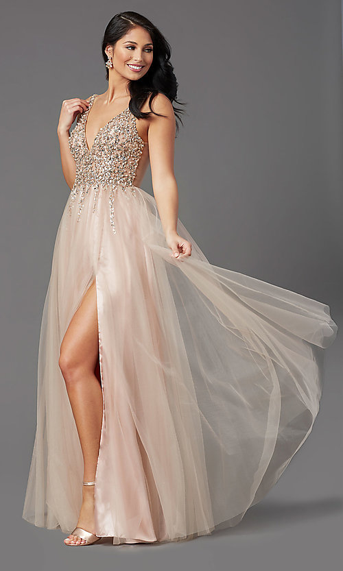 Image of beaded-bodice long tan prom dress by PromGirl. Style: NA-PL-G388 Detail Image 2