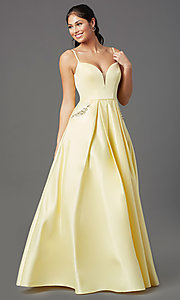 Image of lemon yellow prom ball gown by PromGirl. Style: NA-PL-N308 Detail Image 2