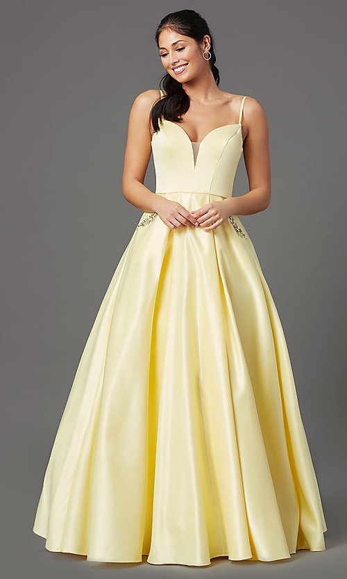 Image of lemon yellow prom ball gown by PromGirl. Style: NA-PL-N308 Front Image