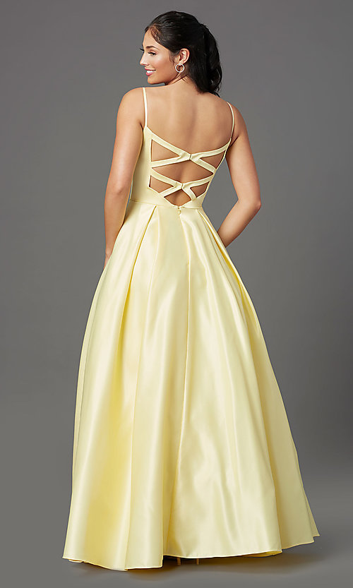 Image of lemon yellow prom ball gown by PromGirl. Style: NA-PL-N308 Back Image