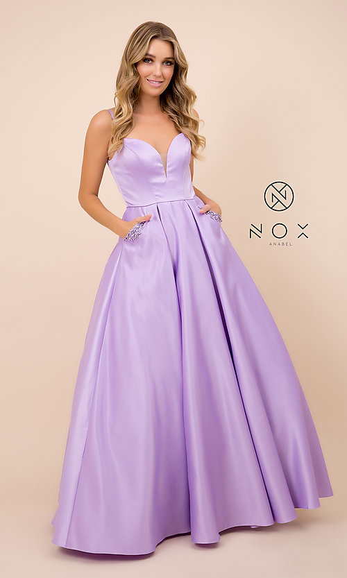 Image of lemon yellow prom ball gown by PromGirl. Style: NA-PL-N308 Detail Image 5