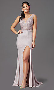 Image of beaded-bodice long prom dress with metallic skirt. Style: NA-E373 Detail Image 3