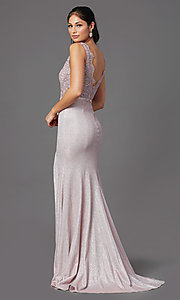 Image of beaded-bodice long prom dress with metallic skirt. Style: NA-E373 Detail Image 4