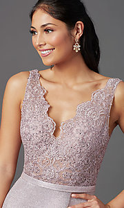 Image of beaded-bodice long prom dress with metallic skirt. Style: NA-E373 Detail Image 5