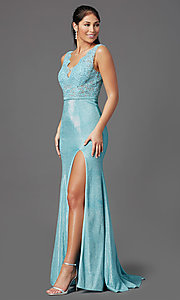 Image of beaded-bodice long prom dress with metallic skirt. Style: NA-E373 Detail Image 7