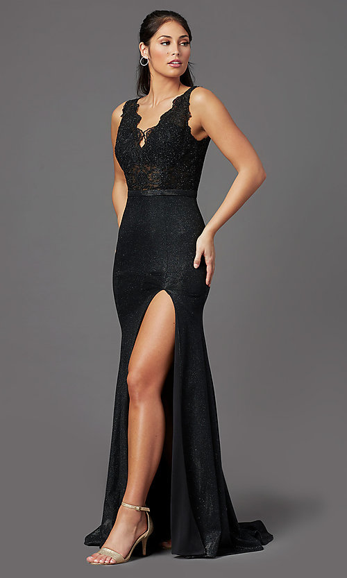 Image of beaded-bodice long prom dress with metallic skirt. Style: NA-E373 Front Image