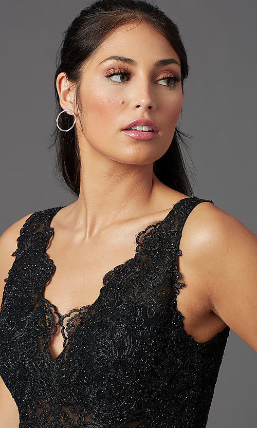 Image of beaded-bodice long prom dress with metallic skirt. Style: NA-E373 Detail Image 1