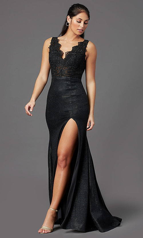 Image of beaded-bodice long prom dress with metallic skirt. Style: NA-E373 Detail Image 2