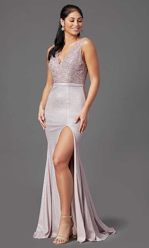 Image of beaded-bodice long prom dress with metallic skirt. Style: NA-E373 Detail Image 6