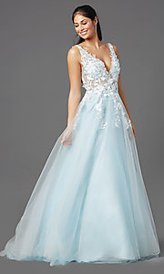 Image of ball-gown-style long prom dress with embroidery. Style: NA-F339 Detail Image 3