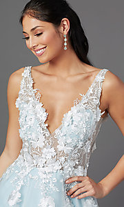 Image of ball-gown-style long prom dress with embroidery. Style: NA-F339 Detail Image 5