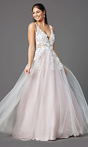 Image of ball-gown-style long prom dress with embroidery. Style: NA-F339 Front Image