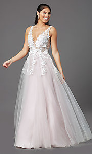 Image of ball-gown-style long prom dress with embroidery. Style: NA-F339 Detail Image 2