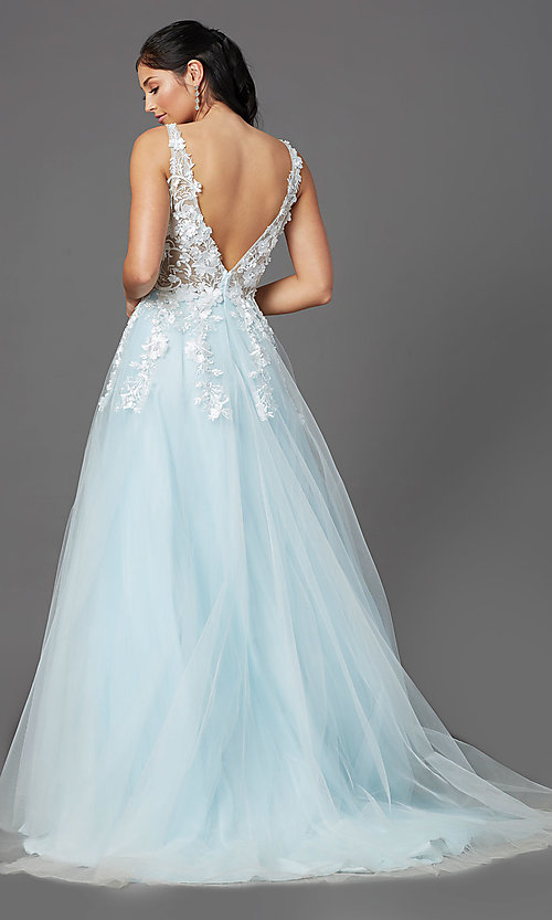 Image of ball-gown-style long prom dress with embroidery. Style: NA-F339 Detail Image 4