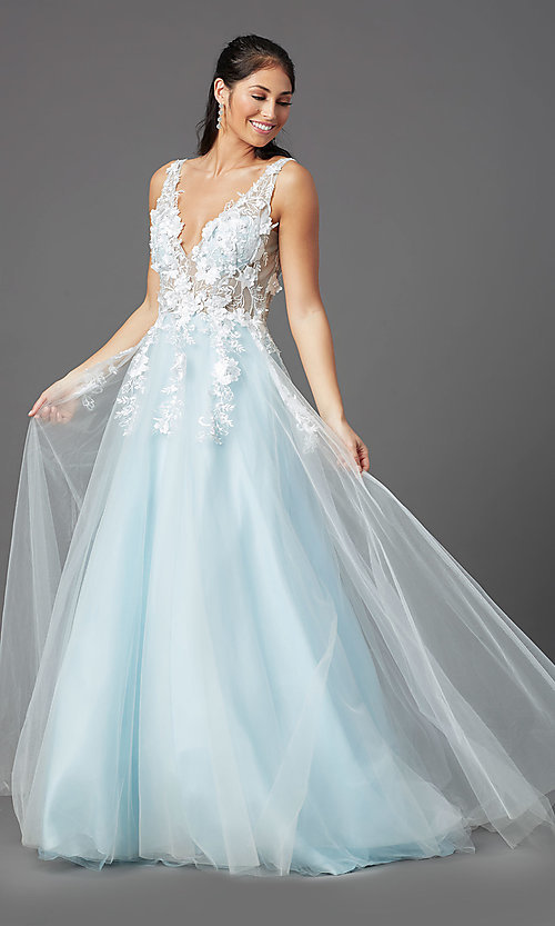 Image of ball-gown-style long prom dress with embroidery. Style: NA-F339 Detail Image 6