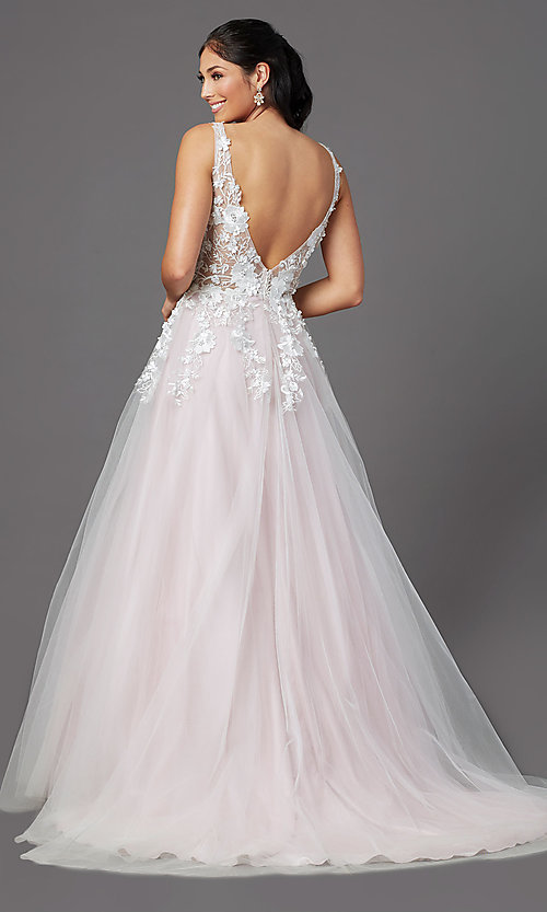 Image of ball-gown-style long prom dress with embroidery. Style: NA-F339 Back Image