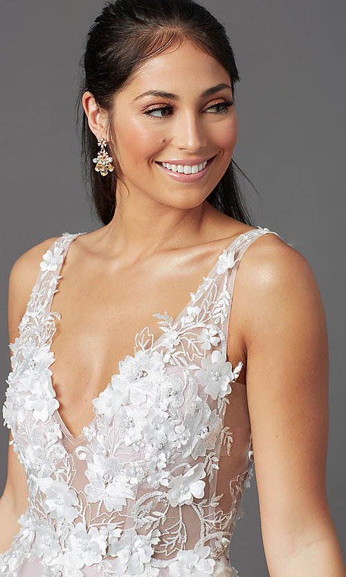 Image of ball-gown-style long prom dress with embroidery. Style: NA-F339 Detail Image 1