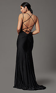 Image of long prom dress with corset open back. Style: NA-C301 Detail Image 7