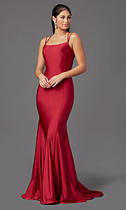 Image of long prom dress with corset open back. Style: NA-C301 Front Image