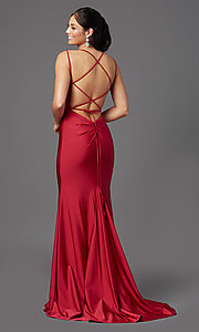 Image of long prom dress with corset open back. Style: NA-C301 Back Image
