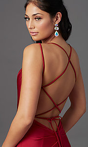 Image of long prom dress with corset open back. Style: NA-C301 Detail Image 1