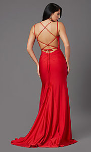 Image of long prom dress with corset open back. Style: NA-C301 Detail Image 5
